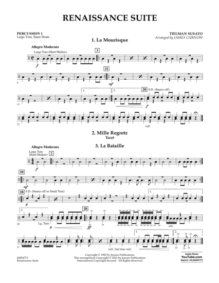 Renaissance Suite - Percussion 1