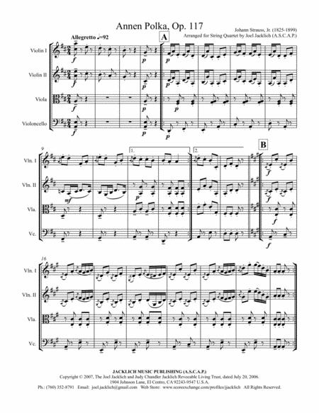 Annen Polka, Op. 117 (String Quartet)
