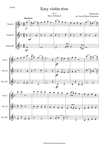 Men of Harlech (Rhyfelgyrch Gwŷr Harlech) for violin trio
