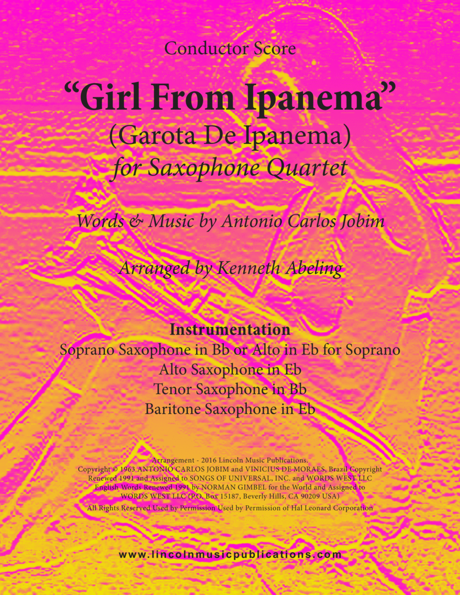 Jazz - The Girl From Ipanema (Garota De Ipanema) (for Saxophone Quartet SATB or AATB)