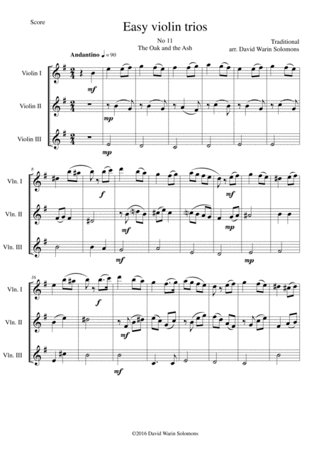The Oak and the Ash (A North country maid) for violin trio