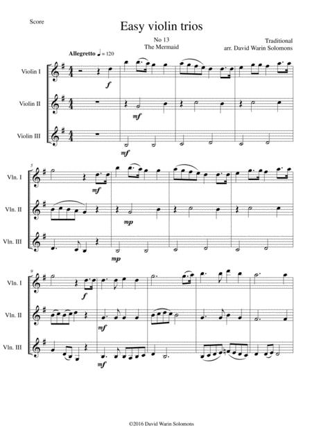 The Mermaid for violin trio
