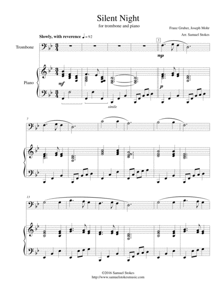 Silent Night - for trombone and piano