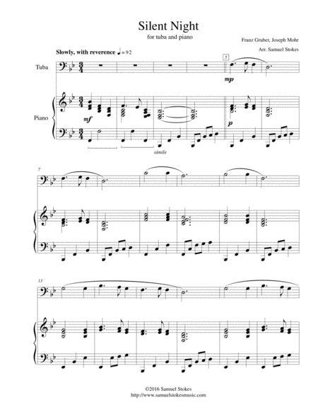 Silent Night - for tuba and piano