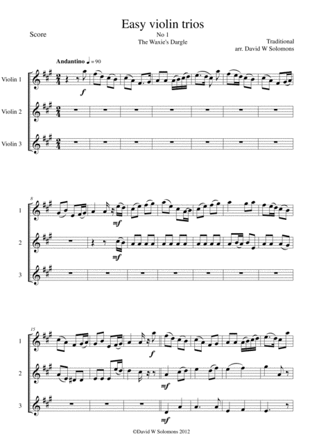 15 easy violin trios