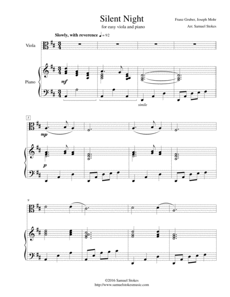 Silent Night - for easy viola (optional piano accompaniment)