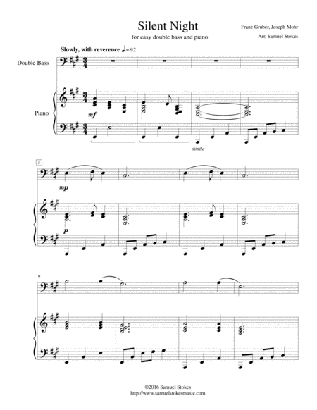 Silent Night - easy string bass (optional piano accompaniment)