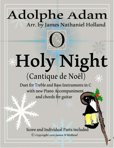 O Holy Night (Cantique de Noel) Adolphe Adam Duet for Treble and Bass Instruments in C