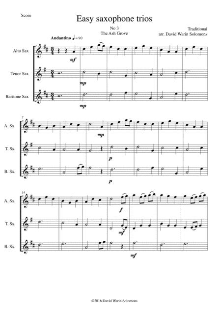 The Ash Grove (Llwyn Onn) for saxophone trio
