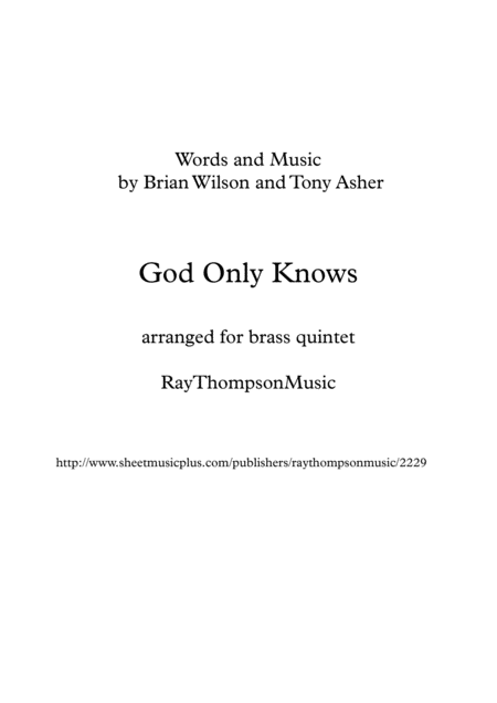 Beach Boys: God Only Knows - brass quintet