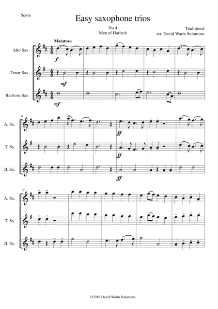 Men of Harlech (Rhyfelgyrch Gwŷr Harlech) for saxophone trio