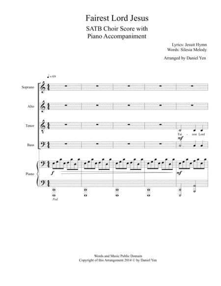Fairest Lord Jesus for SATB Choir with Piano Accompaniment