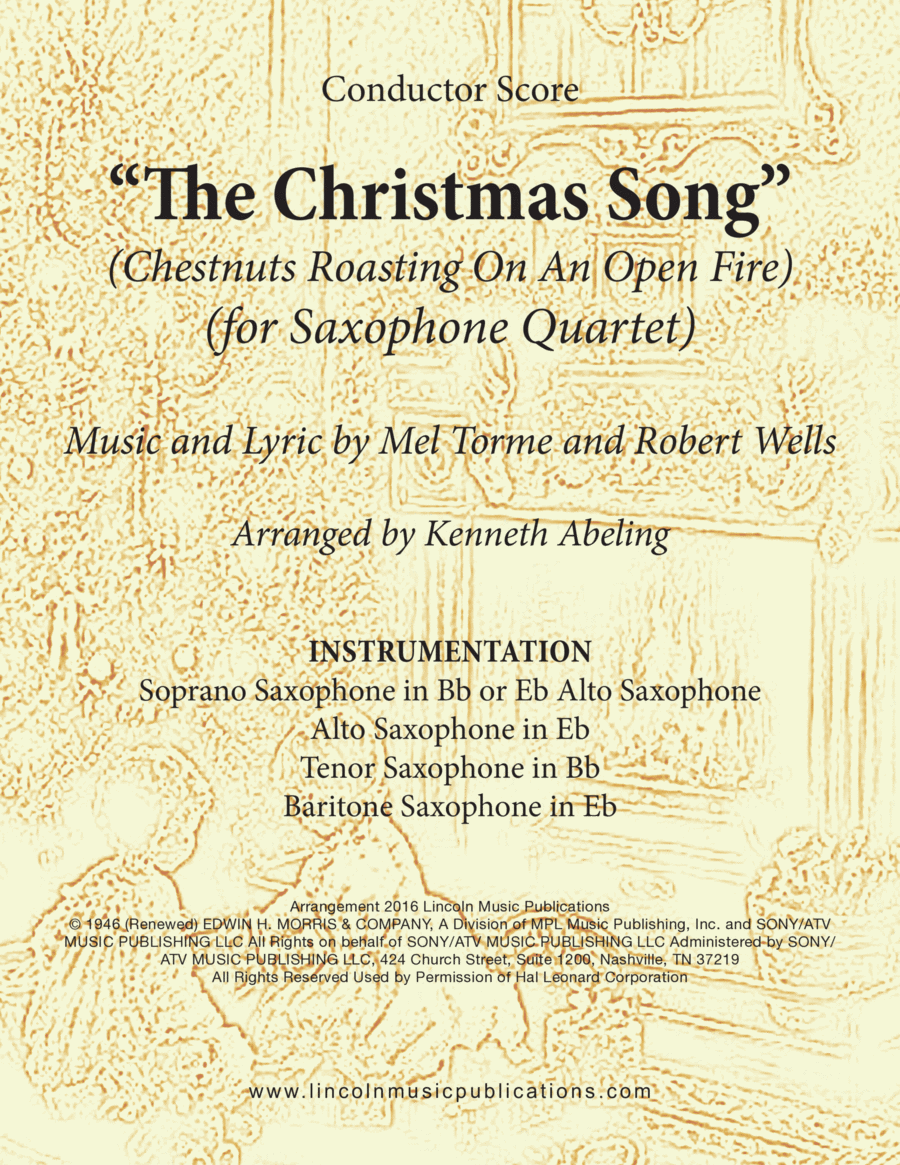 Christmas - The Christmas Song (Chestnuts Roasting On An Open Fire) (for Saxophone Quartet SATB or AATB)