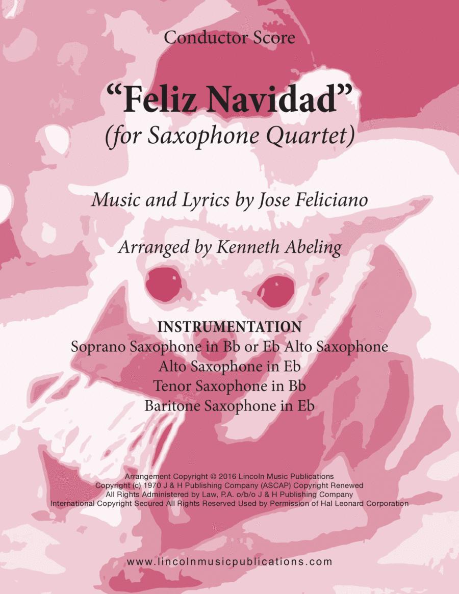 Christmas - Feliz Navidad (for Saxophone Quartet SATB or AATB)