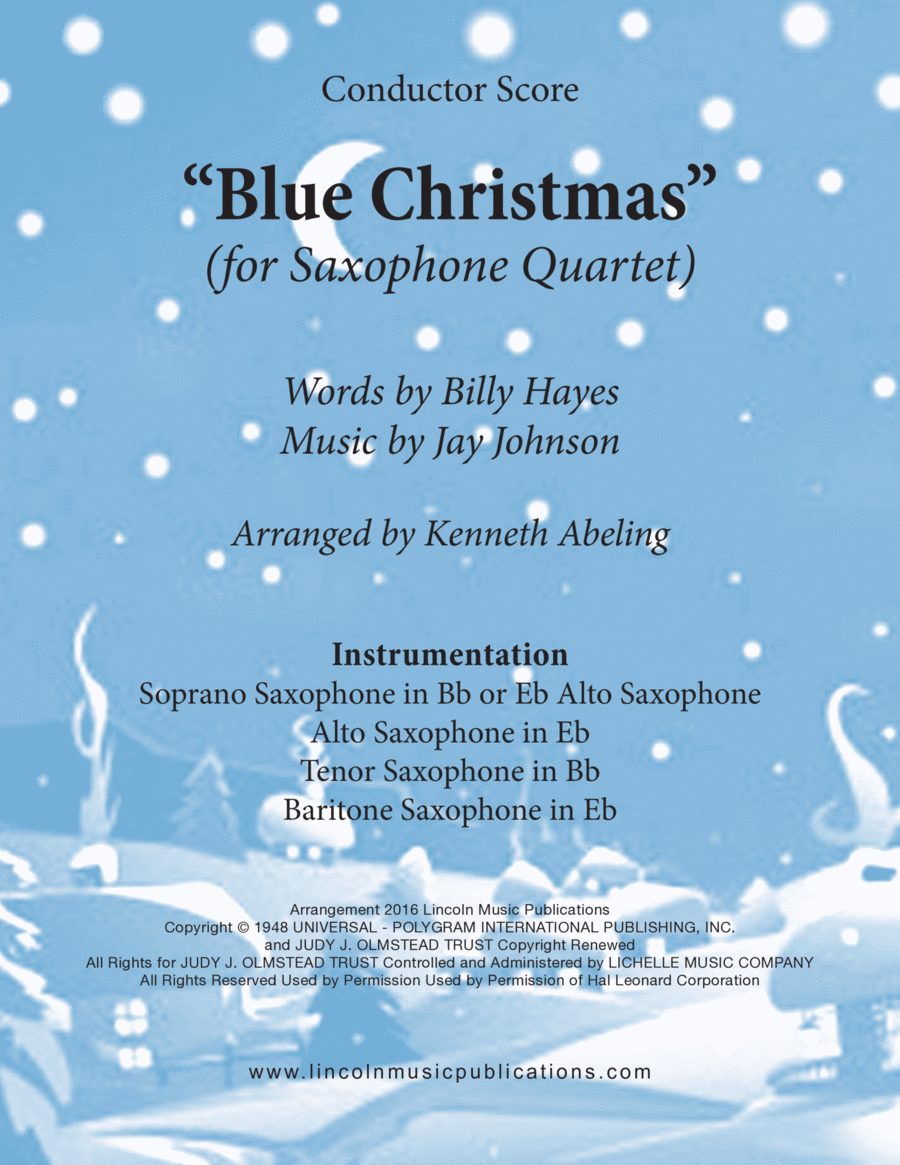 Christmas - Blue Christmas (for Saxophone Quartet SATB or AATB)