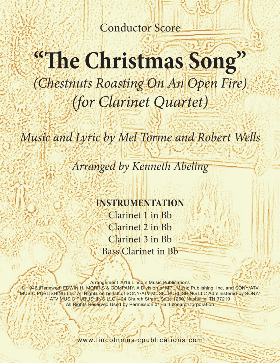 Christmas - The Christmas Song (Chestnuts Roasting On An Open Fire) (for Clarinet Quartet)
