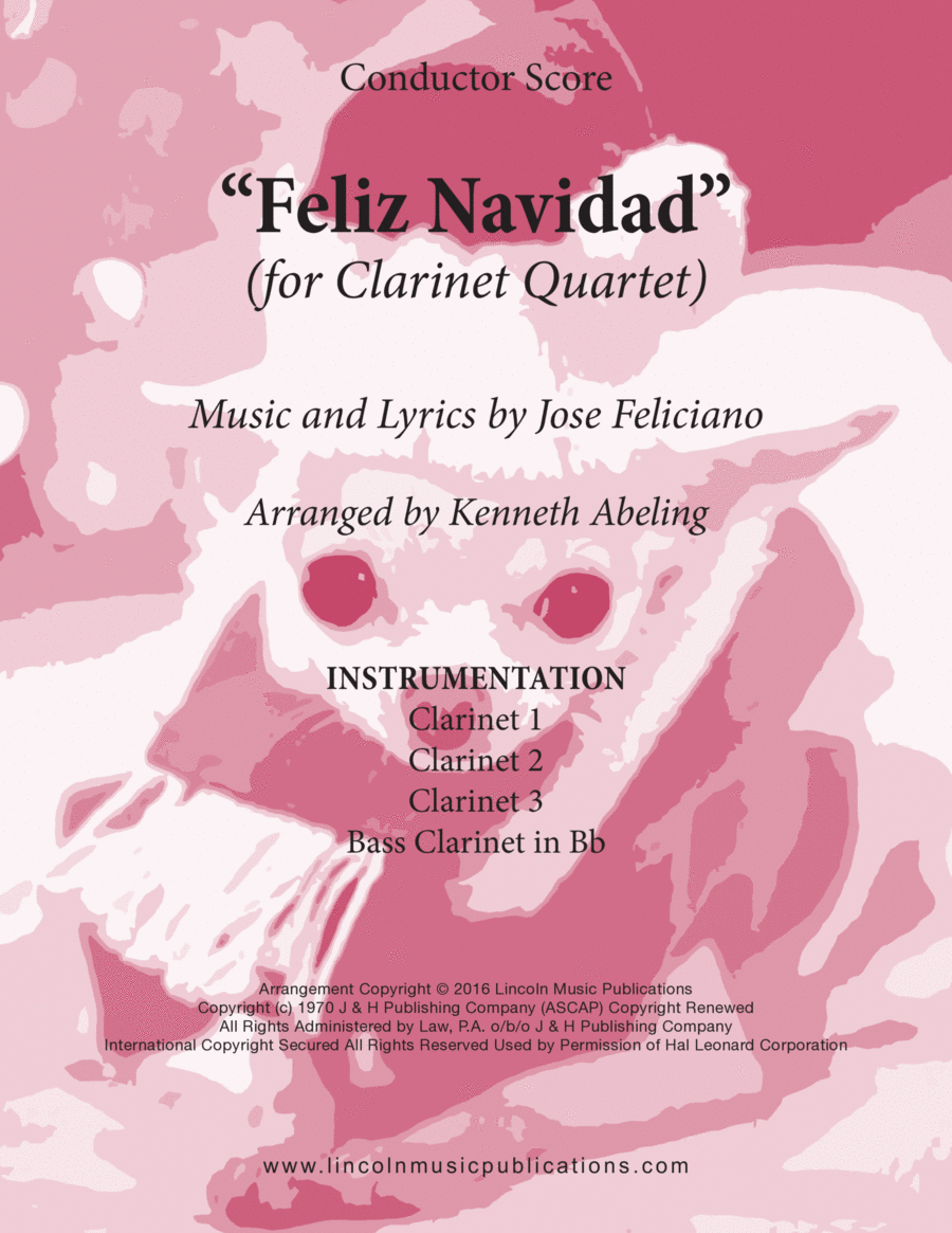 Christmas - Feliz Navidad (for Clarinet Quartet)