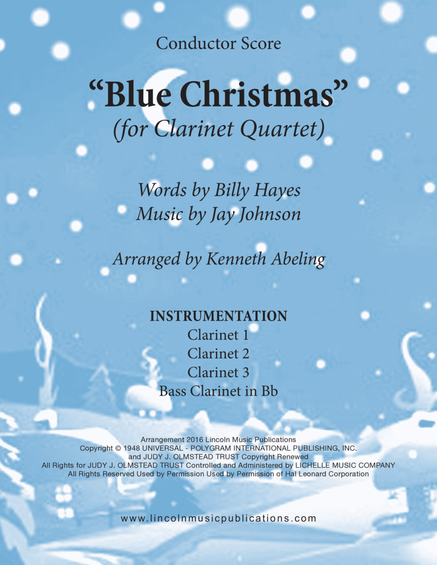 Christmas - Blue Christmas (for Clarinet Quartet)