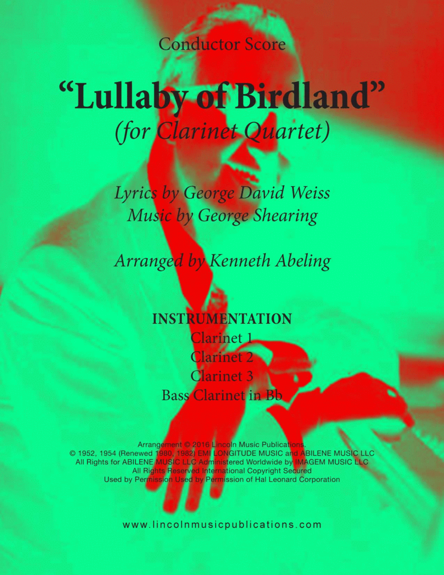 Lullaby Of Birdland (for Clarinet Quartet)