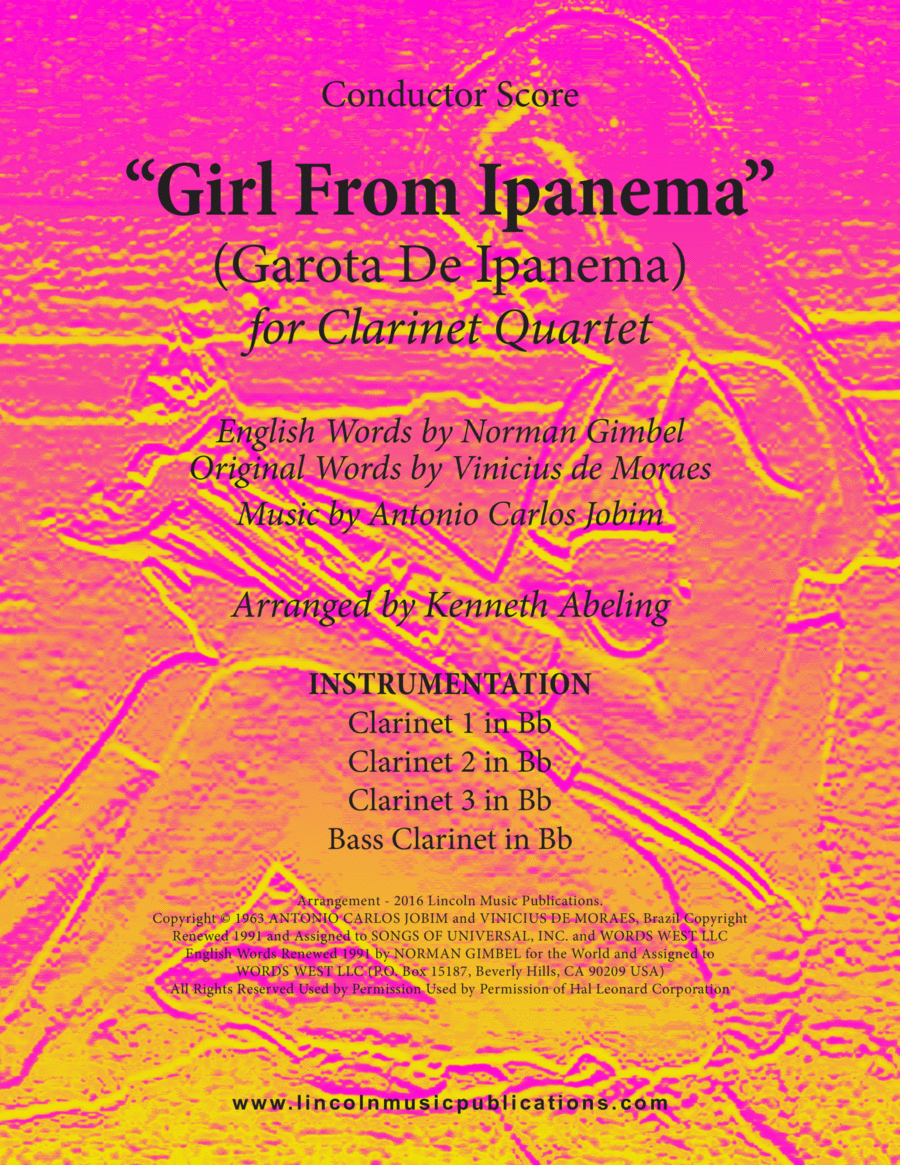 Jazz - The Girl From Ipanema (Garota De Ipanema) (for Clarinet Quartet)