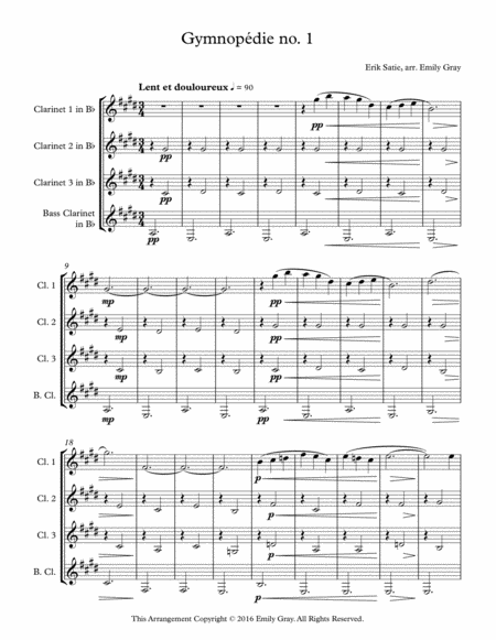 Three Gymnopedies (Clarinet Quartet)