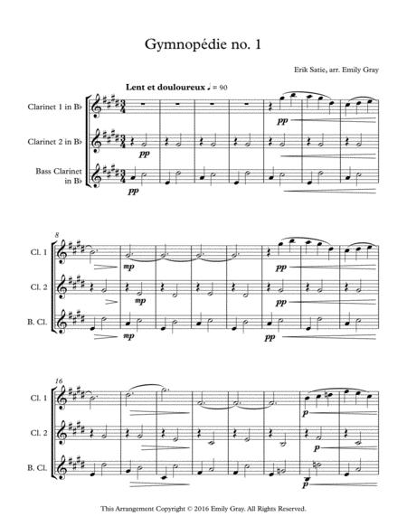 Three Gymnopedies (Clarinet Trio with Bass Clarinet)