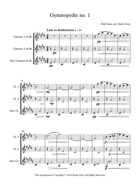 Three Gymnopedies (Clarinet Trio with Alto Clarinet)