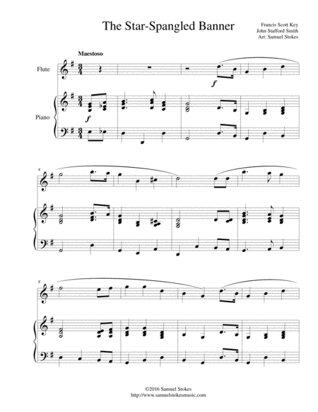 The Star-Spangled Banner - for flute and piano
