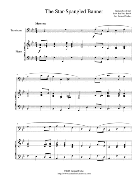 The Star-Spangled Banner - for trombone and piano
