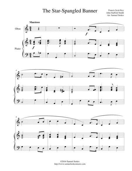 The Star-Spangled Banner - for oboe and piano