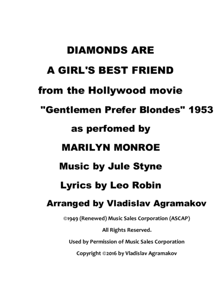 Marilyn Monroe - Dianonds Are A Girls Best Friend. Arrangement by Vladislav Agramakov
