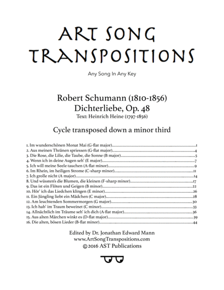 Dichterliebe, Op. 48 (Cycle transposed down a minor third)