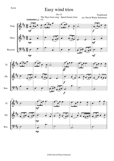 The Skye boat song (Speed bonny boat) for wind trio (flute, oboe, bassoon)