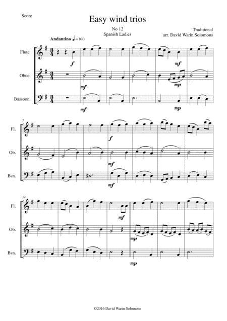Spanish Ladies for wind trio (flute, oboe, bassoon)