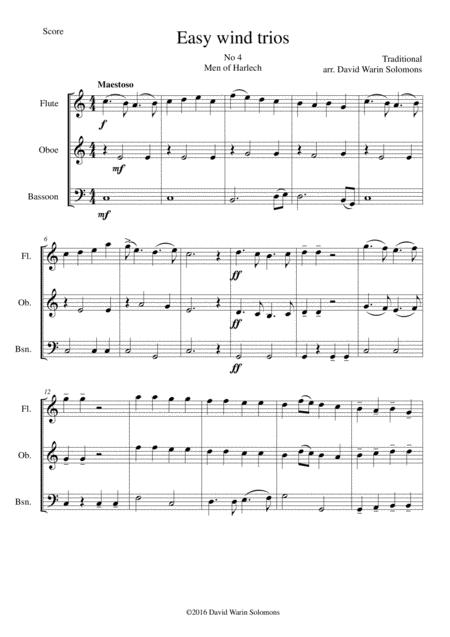 Men of Harlech (Rhyfelgyrch Gwŷr Harlech) for wind trio (flute, oboe, bassoon)