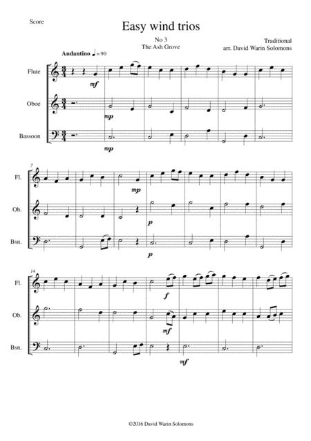 The Ash Grove (Llwyn Onn) for wind trio (flute, oboe, bassoon)