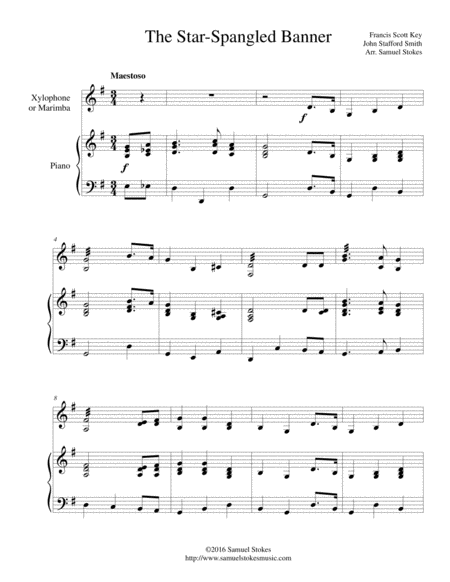 The Star-Spangled Banner - for xylophone/marimba and piano