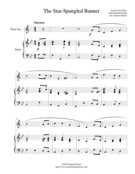 The Star-Spangled Banner - for tenor sax and piano