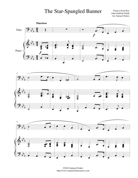 The Star-Spangled Banner - for tuba and piano