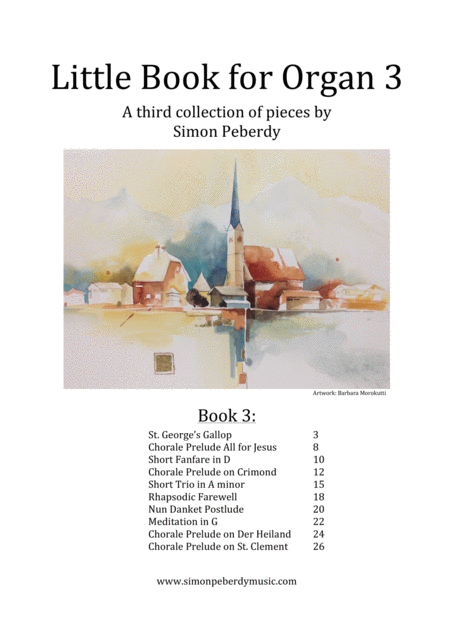 Little Book for Organ (Book 3), a third collection of new pieces by Simon Peberdy