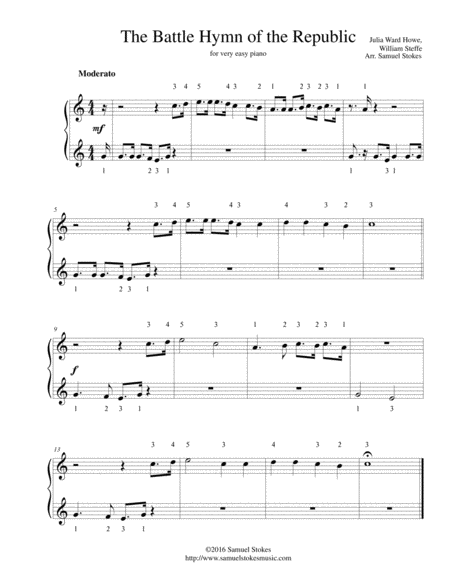 The Battle Hymn of the Republic - for very easy piano