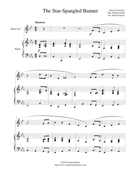 The Star-Spangled Banner - for French horn and piano