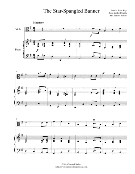 The Star-Spangled Banner - for viola and piano