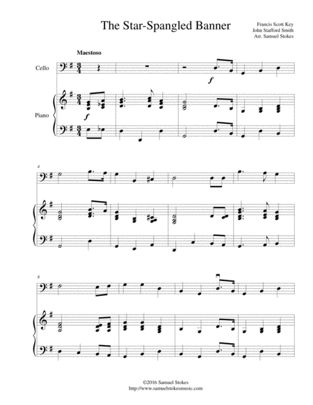 The Star-Spangled Banner - for cello and piano