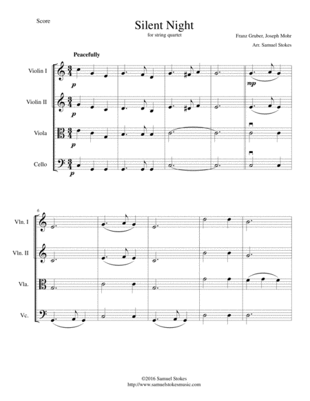 Silent Night - beautiful arrangement for string quartet