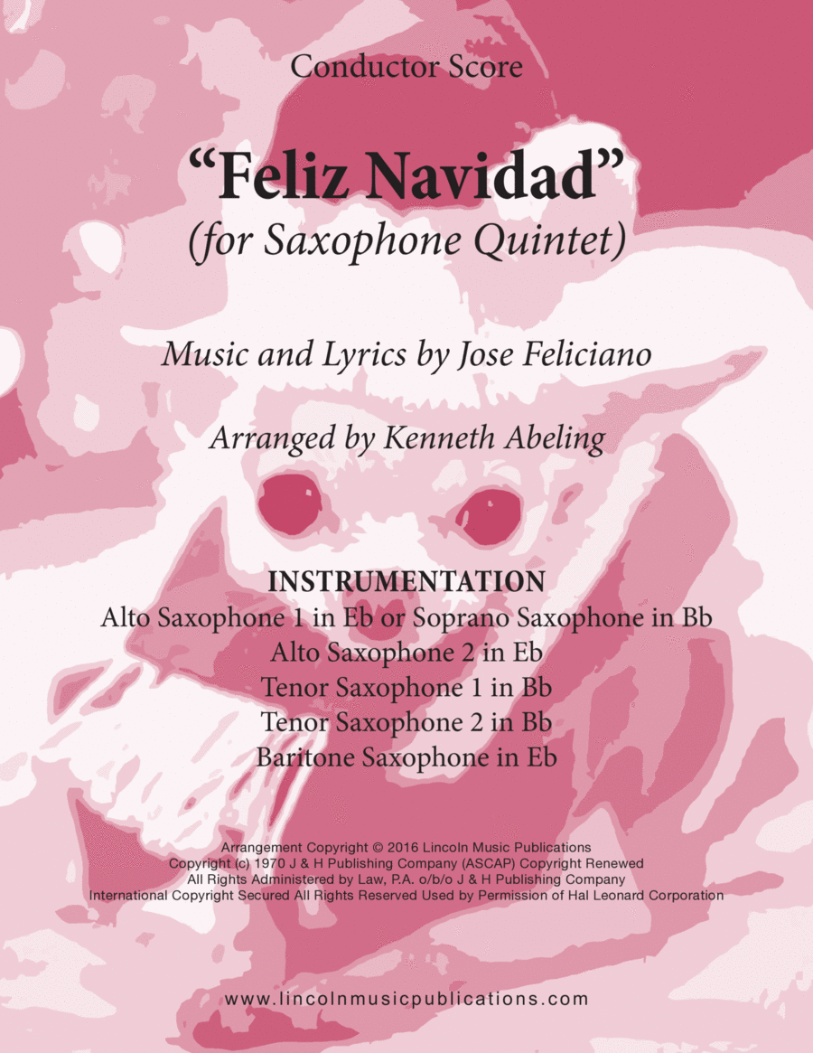Christmas - Feliz Navidad (for Saxophone Quintet SATTB or AATTB)