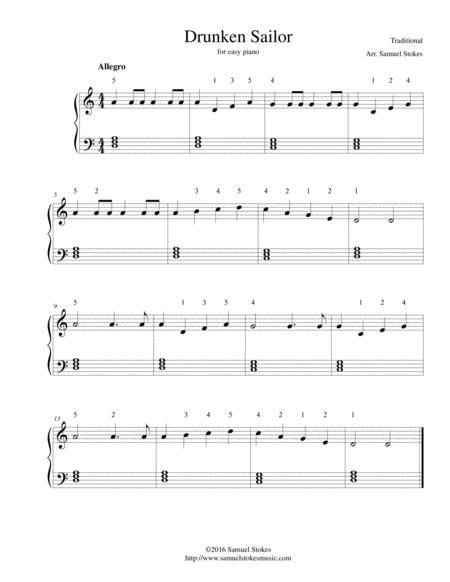 Drunken Sailor - for easy piano