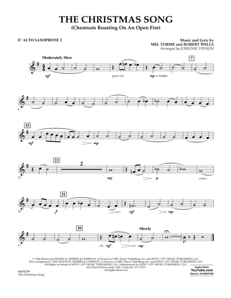 The Christmas Song (Chestnuts Roasting on an Open Fire) - Eb Alto Saxophone 2