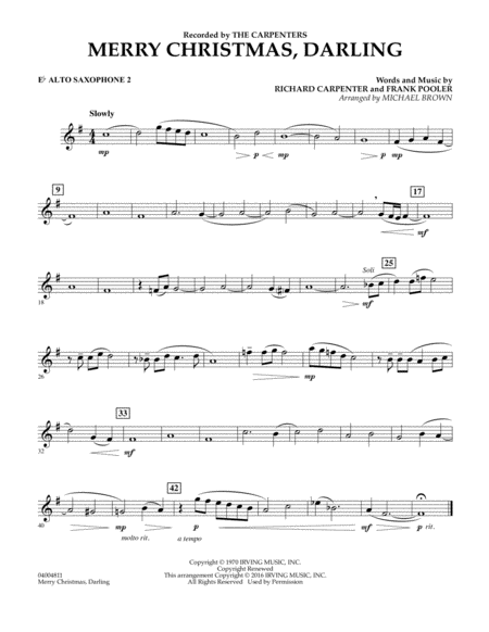 Merry Christmas, Darling - Eb Alto Saxophone 2