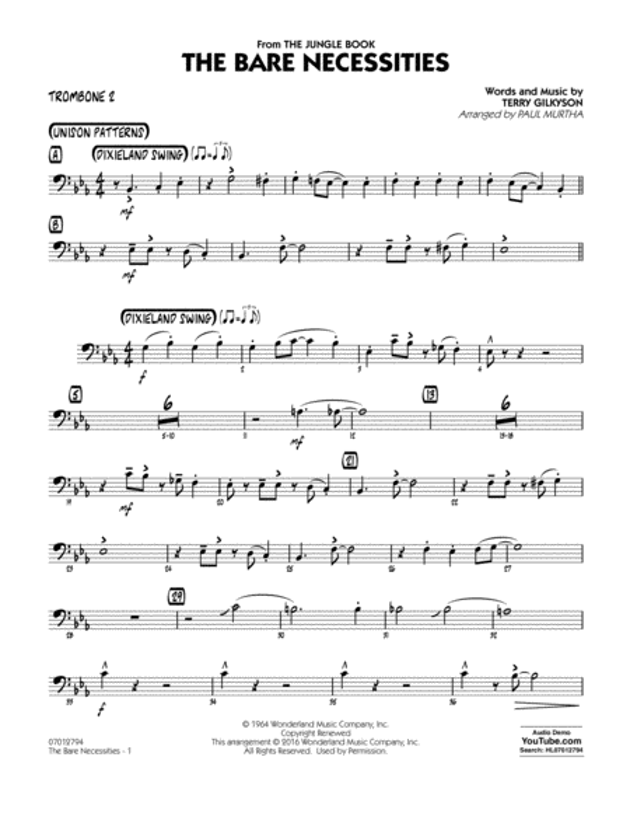 The jungle book music sheet